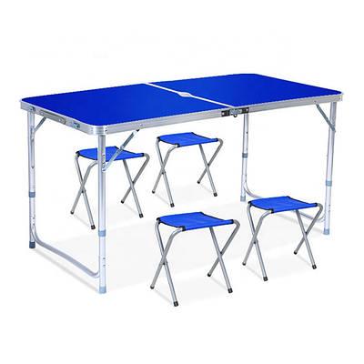 Складной столик чемодан для пикника, кемпинга 120 на 60 см с 4-мя стульями Folding Table синий 179306