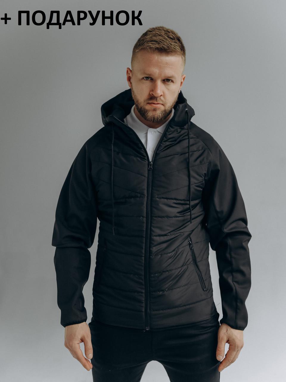 Чоловіча тепла вітрозахисна куртка на блискавці з капюшоном чорна демисезон