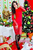 А1211 Платье элегантное с выбитым гипюром