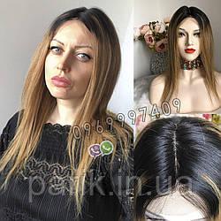 💎Натуральный женский парик омбре золотистый, натуральный волос 💎