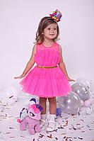 Детское нарядное платье из еврофатина малиновое, рост 98-140 см