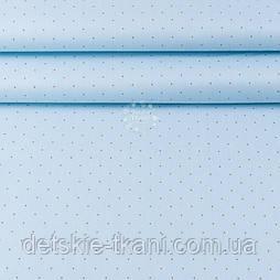 """Тканина ранфорс шириною 240 см """"Коричневі рідкі точки"""" на голубому (№3408)"""