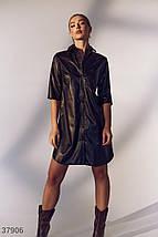 Casual-платье из черной кожи, фото 2