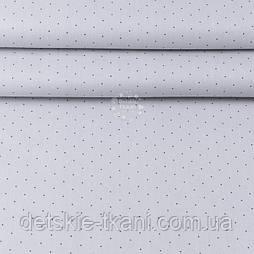 """Тканина ранфорс шириною 240 см """"Графітові рідкі точки"""" на сірому (№3410)"""