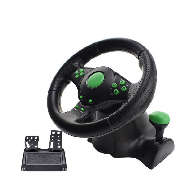 ОПТ Игровой руль Super Vibration Steering Wheel USB/PC/PS3 с педалями газа и тормоза и системой виброотдачи