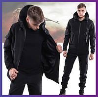 Мужская куртка софтшел с капюшоном черная, комплект демисезонный Softshel + Ключница