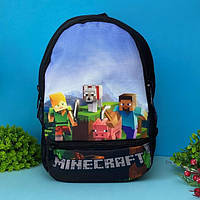 Детский рюкзак для мальчика майнкрафт ( Minecraft ) черній