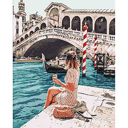 Картина по номерам Идейка Люди 40х50 см Влюбленная в Венецию KHO4526, КОД: 1569696