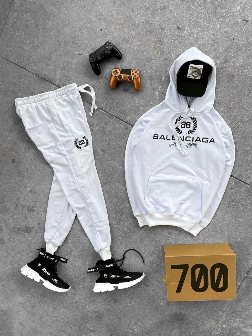 Чоловічий спортивний костюм Баленсіага білого кольору