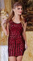 Необычное женское платье мини без рукавов дайвинг пайетки Турция