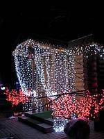 Новогодняя светодиодная гирлянда занавес-штора уличная 180 LED 2 м на 2 м белая и мульти украсьте  свой дом  к