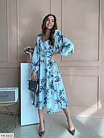Женское весеннее красивое платье с цветочным принтом