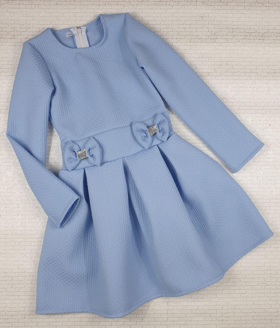 Сукня ДВА БАНТИКА на дівчинку 104,110,116,122,128,134 см, блакитний