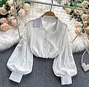 Біла сорочка з вишивкою з прошвы з широким рукавом жіноча (р. 42-46) 7913458, фото 2
