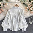 Біла сорочка з вишивкою з прошвы з широким рукавом жіноча (р. 42-46) 7913458, фото 3
