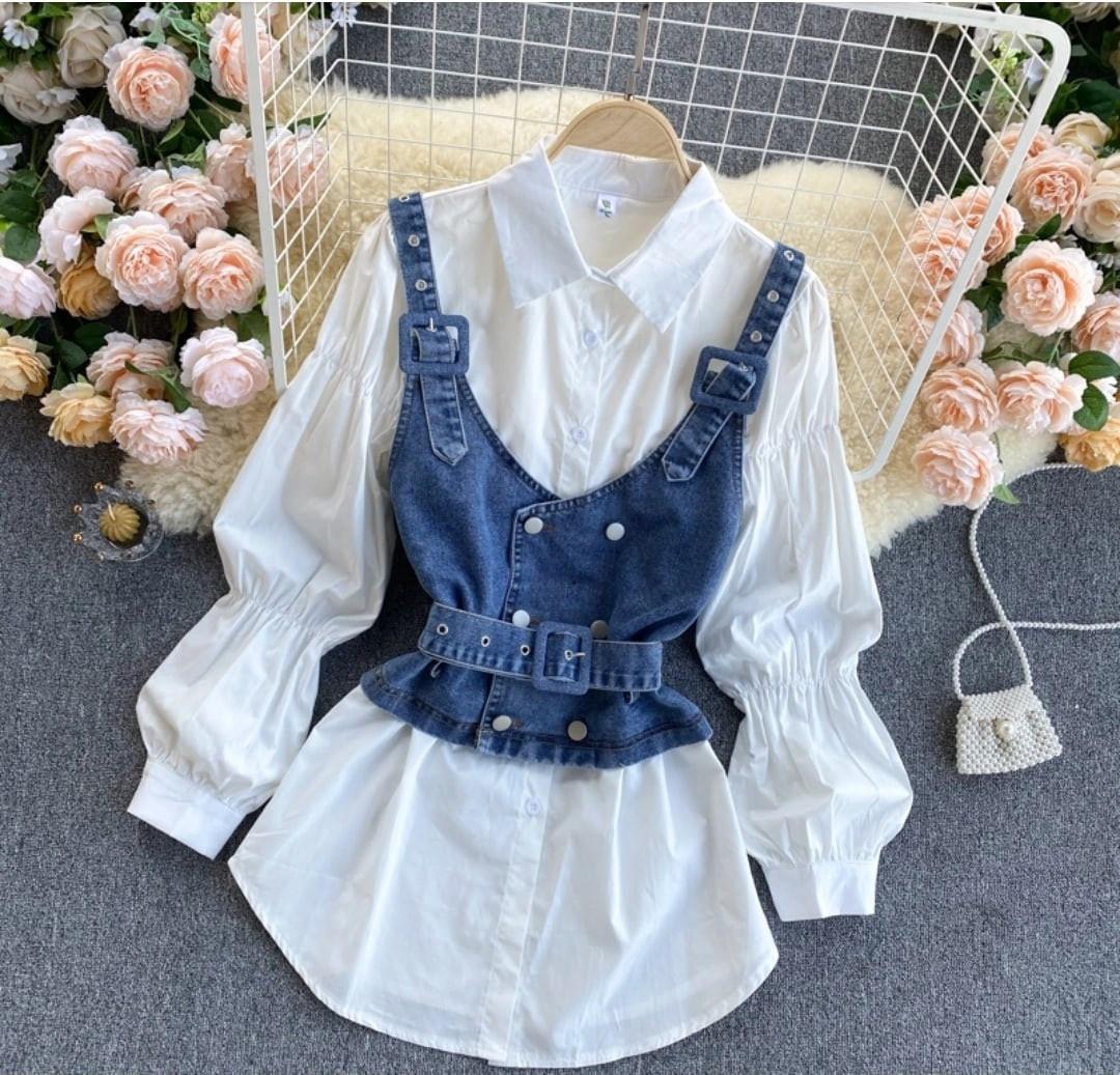 Комплект біла сорочка з джинсовим жилетом на бретелях (р. 42-46) 7913460
