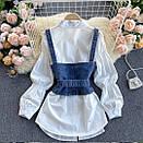 Комплект біла сорочка з джинсовим жилетом на бретелях (р. 42-46) 7913460, фото 3