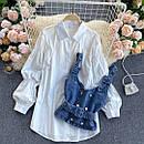 Комплект біла сорочка з джинсовим жилетом на бретелях (р. 42-46) 7913460, фото 4