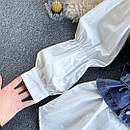 Комплект біла сорочка з джинсовим жилетом на бретелях (р. 42-46) 7913460, фото 5