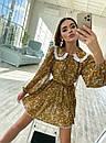 Цветочное платье с расклешенной юбкой и белым воротничком трендовое (р. S-M) 36032240, фото 3