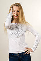 Жіноча вишита футболка білим по білому «Ніжний карпатський орнамент» , фото 1