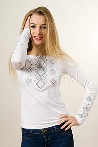 """Женская вышитая футболка белым по белому """"Нежный карпатский орнамент»"""
