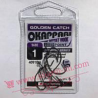 Офсетный крючок Golden Catch Okappari 4091BN #1 (6 шт./уп.) с Обычным ушком