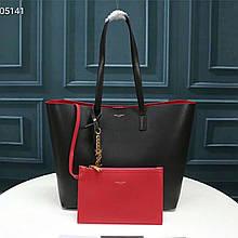 Сумка Shopping Bag Ив Сен Лоран натуральная кожа, цвет черный с золотом