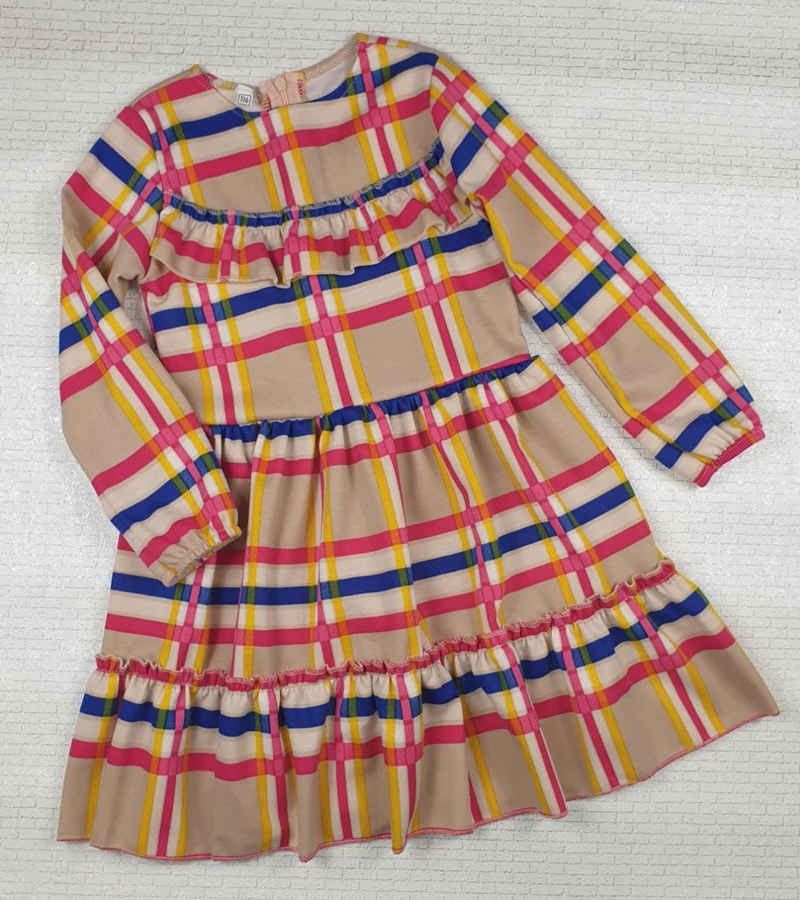 Плаття в клітку в садок на дівчинку 110, 116,122,128 см