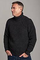 Свитер мужской из шерсти с высоким воротником цвет серый, размеры от L до 3XL