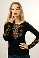 Жіноча вишиванка із довгим рукавом чорного кольору «Карпатський орнамент (коричнева вишивка)» , фото 1