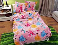Постельное белье детское 150х210/Постельное белье для девочки/комплект постельного бельяс принцессами