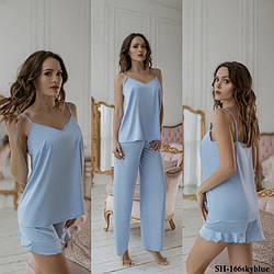 Комплект-піжама жіночий шовковий для дому та сну: майка + шорти + штани DIVA SH-166skyblue