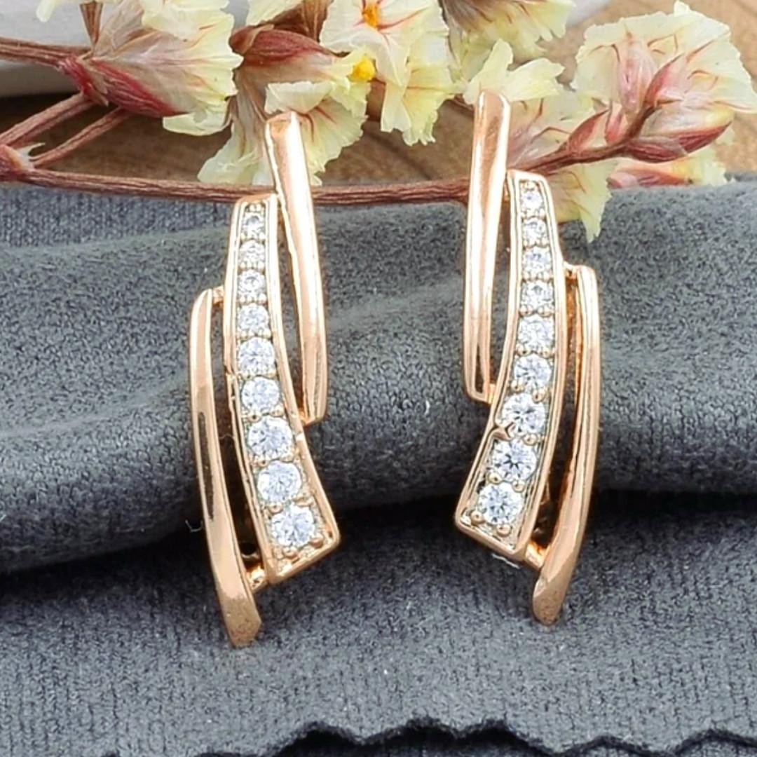 Сережки Xuping довжина 2.1см медичне золото позолота 18К с821