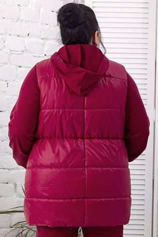 Женский жилет больших размеров теплый бордовый, фото 2