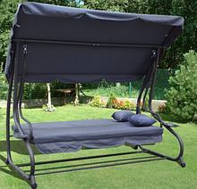 Садова Гойдалка диван 3-х місна для дачі і саду розкладна, качеля гойдалка з навісом