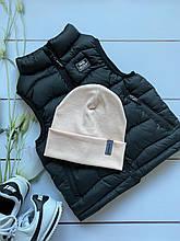 Демисезонная детская двойная трикотажная шапочка в рубчик с подворотом для девочки и мальчика.