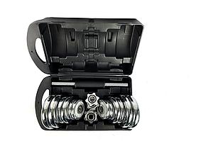Комплект хромованих гантелей NEO-SPORT - 20 кг в боксі, розбірних із змінними дисками