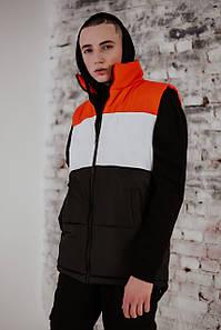 Жилетка мужская осенняя весенняя Intruder Brand 'Koloritna' оранжевая - белая - черная безрукавка