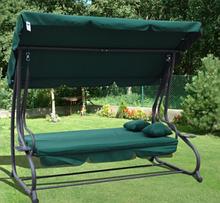 Садова Гойдалка диван 3-х місна для дачі і саду розкладна, качеля гойдалка з навісом зелена