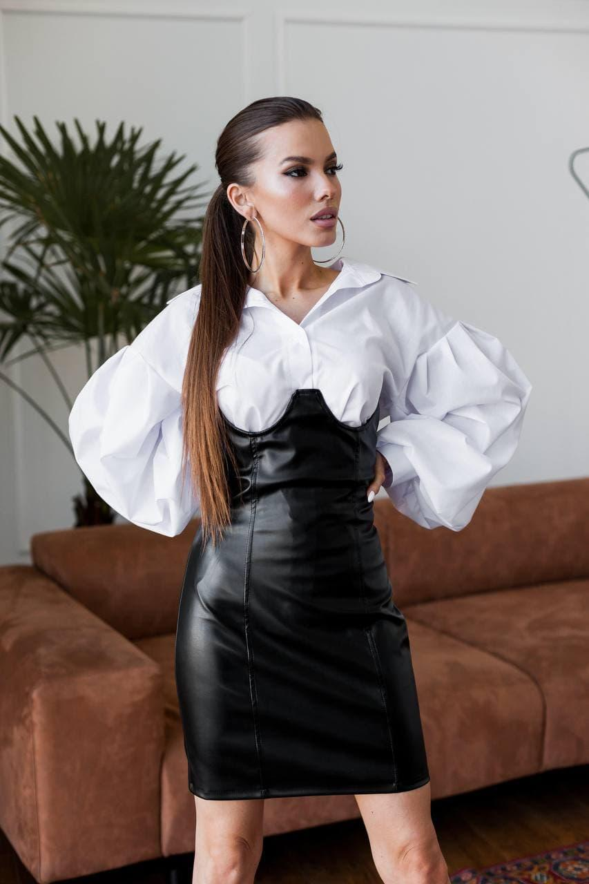 Юбочный костюм с рубашкой с широкими рукавами и юбкой с имитацией корсета (р. S, M) 60st1700