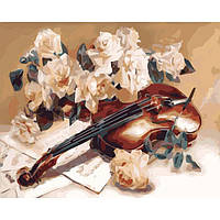 Картина по номерам Идейка Натюрморт 40х50 см Мелодия скрипки KHO5500, КОД: 1319345