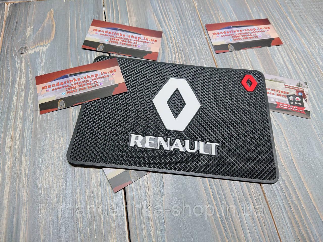 Антиковзаючий килимок на панель авто Renault (Рено)