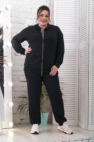 Спортивний костюм жіночий батальний чорного кольору, фото 2