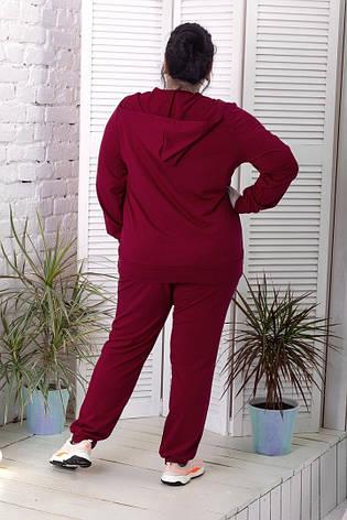 Женский батальный спортивный костюм бордовый, фото 2
