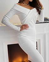 Облегающее платье в рубчик с открытыми плечами длиной ниже колен (р. S-М) 53mpl2100R