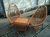 Набор стол и два кресла из лозы Гриб