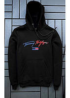Спортивная мужская черная толстовка кофта худи с капюшоном и надписью Томми ХилфигерTommy Hilfiger
