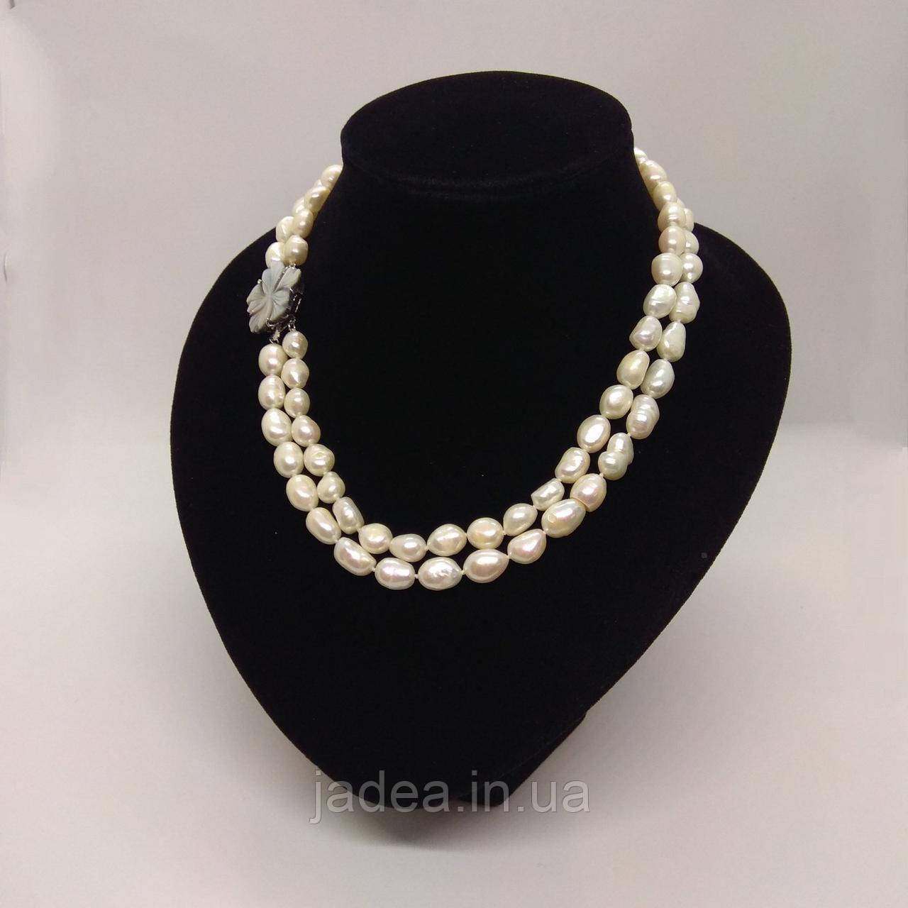 Намисто з перлів білого кольору L=120 см Ø=5-6 мм