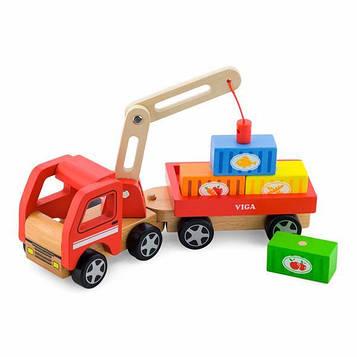 Дерев'яна машинка Viga Toys Автокран хлопчикам преддошкольного віку від 18 місяців (SV)